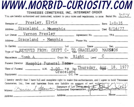 Two  it would be financially advantageous to have Elvis buried in Graceland  as an added attraction. Elvis Presley